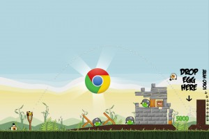 Angry Birds Chrome - расположение Логотипа на Уровне 2-20