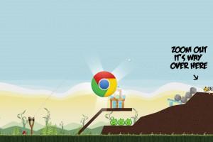Angry Birds Chrome - расположение Логотипа на Уровне 2-4