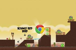 Angry Birds Chrome - расположение Логотипа на Уровне 3-7