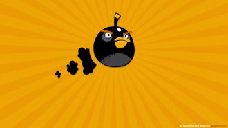 Обои Angry Birds - Чёрная Птица в полёте