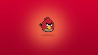 Обои Angry Birds - Красная Птица на красном фоне