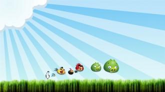 Обои Angry Birds - Выстрел по Свиньям