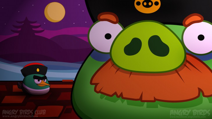 Обои Angry Birds Seasons Mooncake Festival Mr. Moustache & Angry Duck