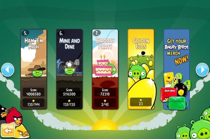 Экран выбора эпизода в Angry Birds на PC