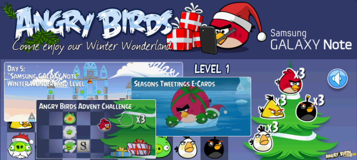 Angry Birds in Samsung GALAXY Note Winter Wonderland