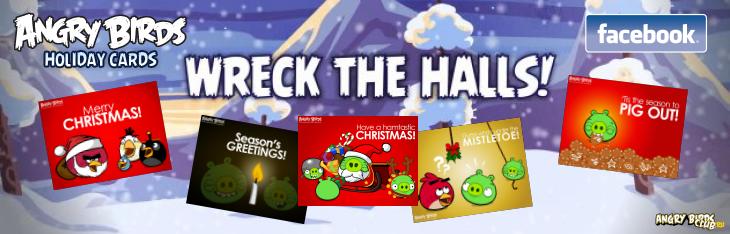 Рождественские Facebook-карточки Angry Birds
