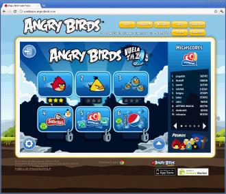 Angry Birds Vuela Tazos - Главное меню