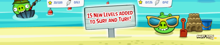 Обновление Angry Birds Facebook открывает 2-ю локацию Surnf & Turf