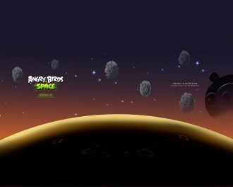 Обои Angry Birds Space астероиды 1280x1024