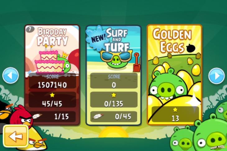 Angry Birds - новое меню выбора эпизода