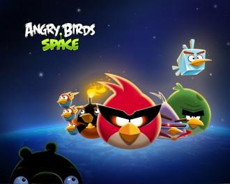 Обои Angry Birds Space Стая и Свинья 1280x1024