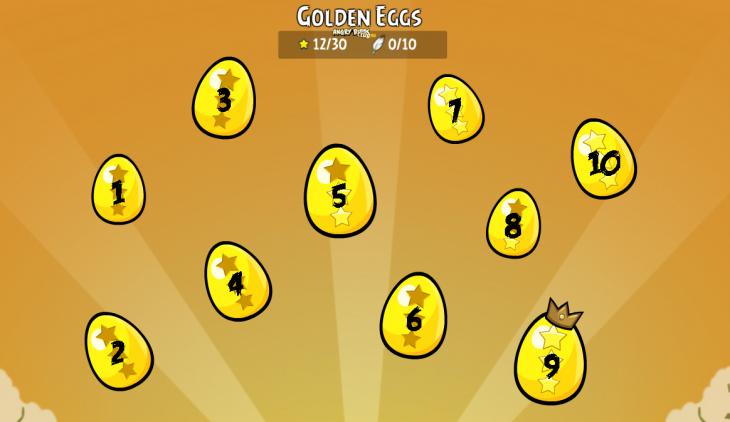 Золотые Яйца Angry Birds Facebook - экран выбора Яиц с номерами