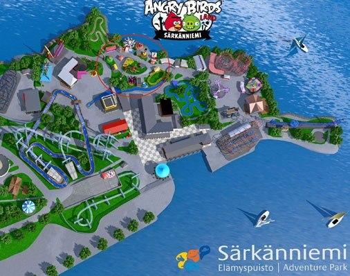 План парка Sarkanniemi с указанием места Angry Birds Land