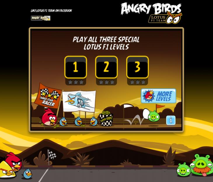 Онлайн-миниигра Angry Birds F1 Lotus