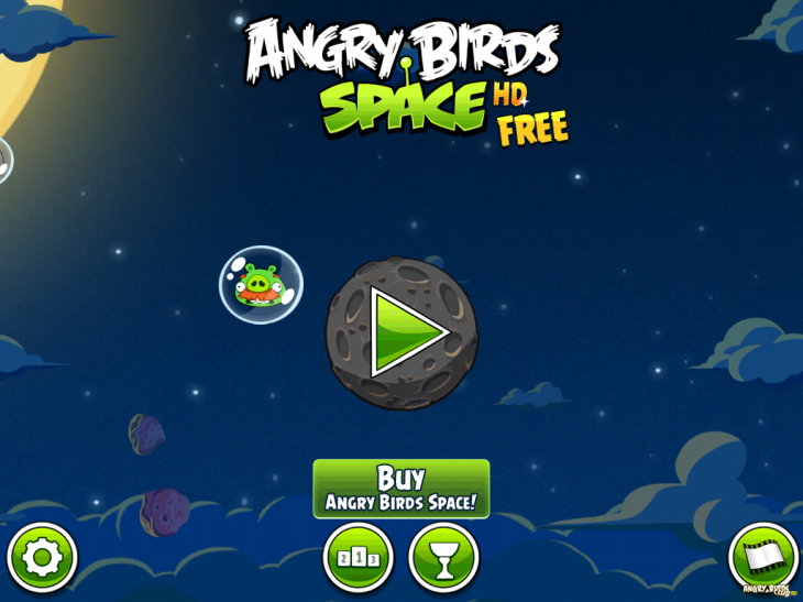 Angry Birds Space Free - главное меню
