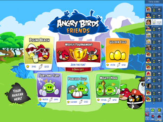 Angry Birds Friends Pigini Beach - Главное меню