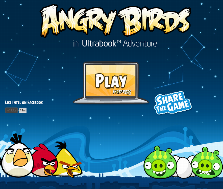 Мини-игра Angry Birds в приключении Intel Ultrabook