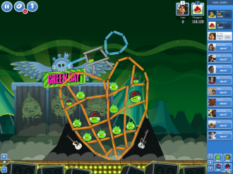 Angry Birds Facebook - Green Day: Уровень 1