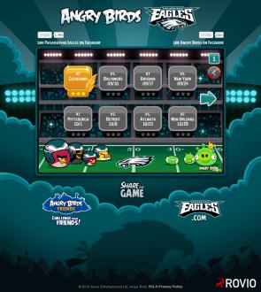 Angry Birds Philagelphia Eagles: Меню