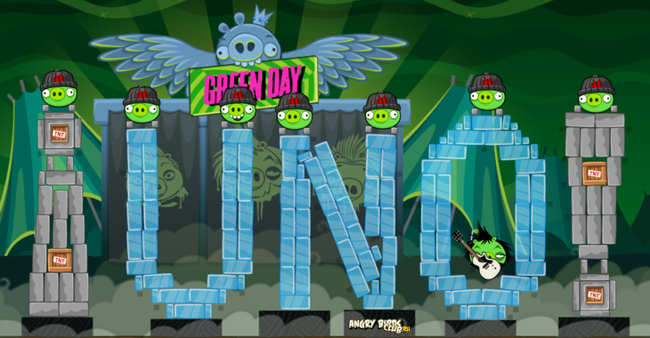 Angry Birds Facebook Green Day обновилась