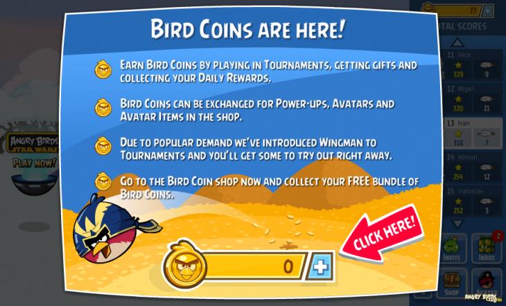 Angry Birds Friends: Баннер Bird Coins