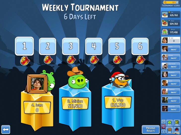 Angry Birds Friends - Новый формат турниров