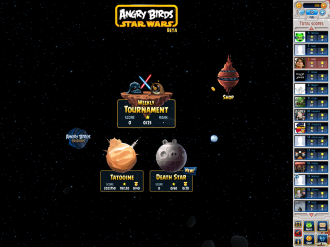 Angry Birds Star Wars Facebook - Death Star: Меню