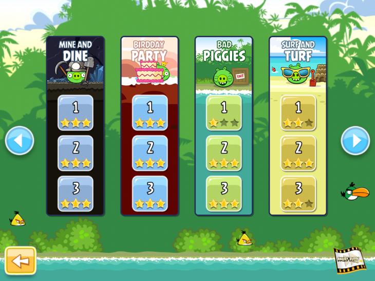 Angry Birds Free: Новое меню выбора эпизода