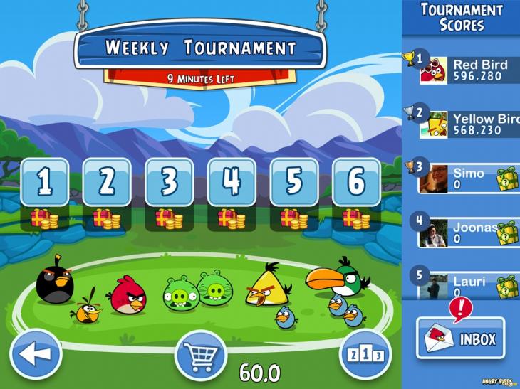 Вероятный интерфейс Angry Birds Friends