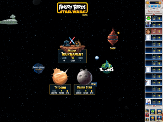 Angry Birds Star Wars Facebook: Меню