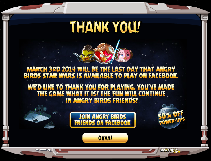 Angry Birds Star Wars Facebook закрывается